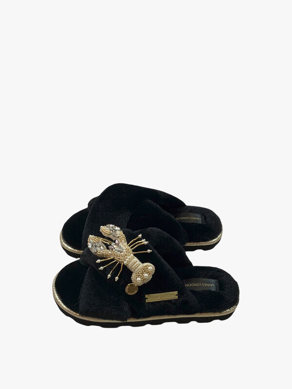 Ultralight Chic Black Slipper with Artisan Pearl and Gold Lobster Brooch