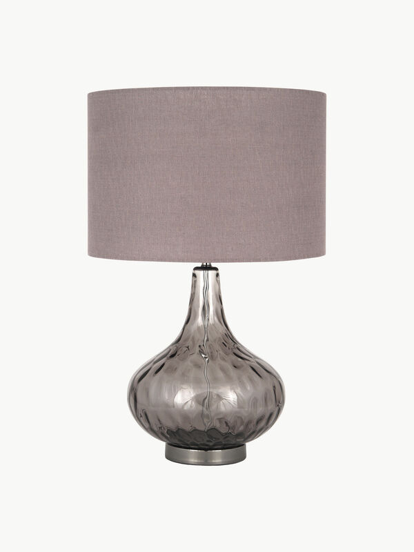 Amelia Smoke Glass Dimple Table Lamp