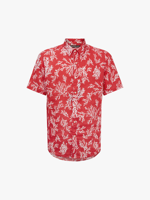 Slim Coral Print Linen Shirt