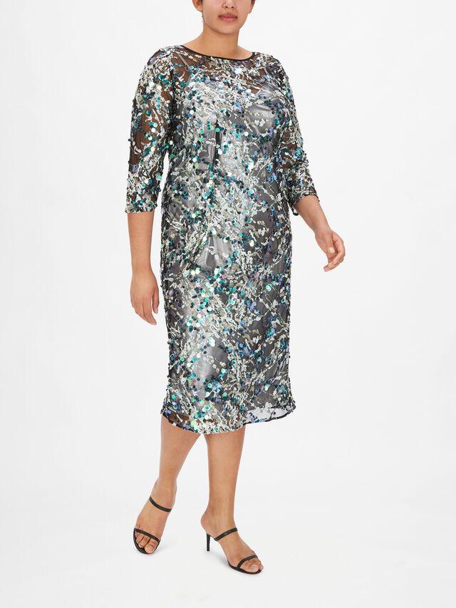 Designer Embroidered Tulle Shift Dress