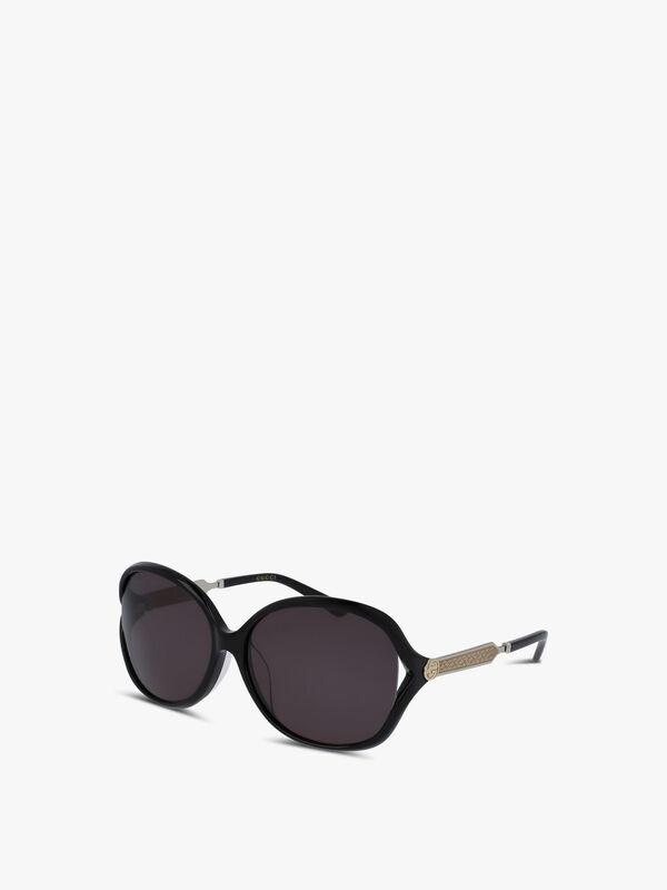 Oval Wrap Acetate/Metal Sunglasses