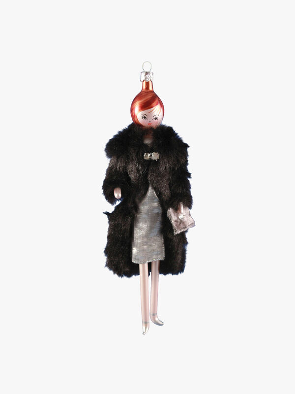 Lady in Faux Fur Coat with Shiny Dress