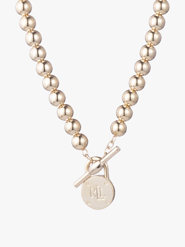 Gold Tone Beaded Toggle Necklace with Lauren Ralph Lauren Padlock