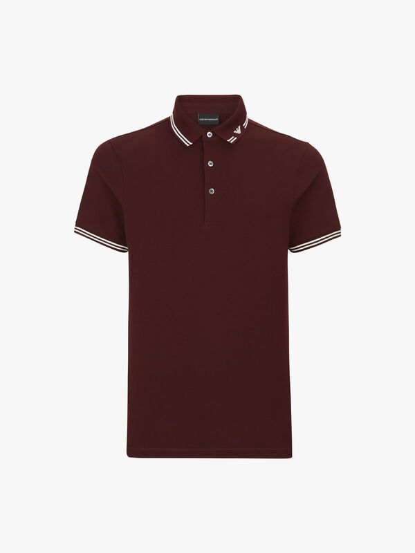 Tipped Eagle Collar Polo Shirt