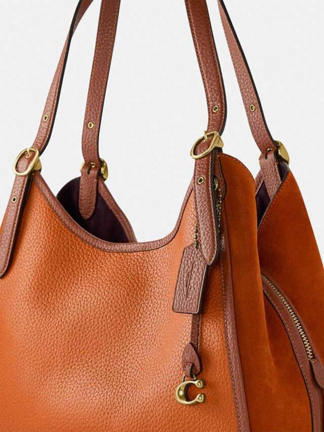 Mixed leather with Suede Gusset Archival Edie Shoulder Bag