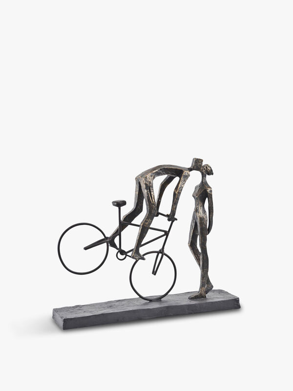 Antique Kissing Couple On Bike Sculpture