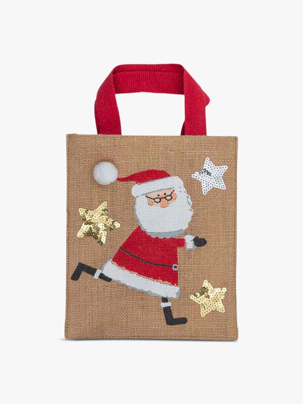 Santa Small Jute Gift Bag