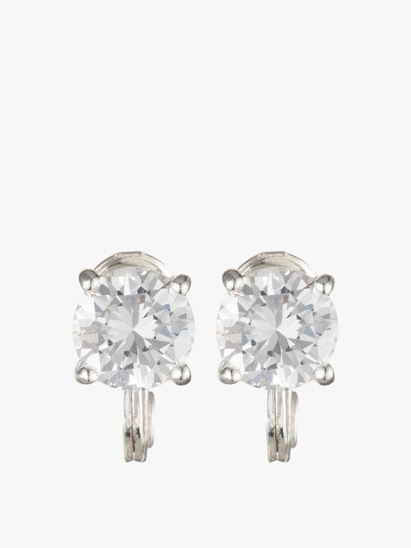 Cubit Zirconia Silver Clip On Earrings
