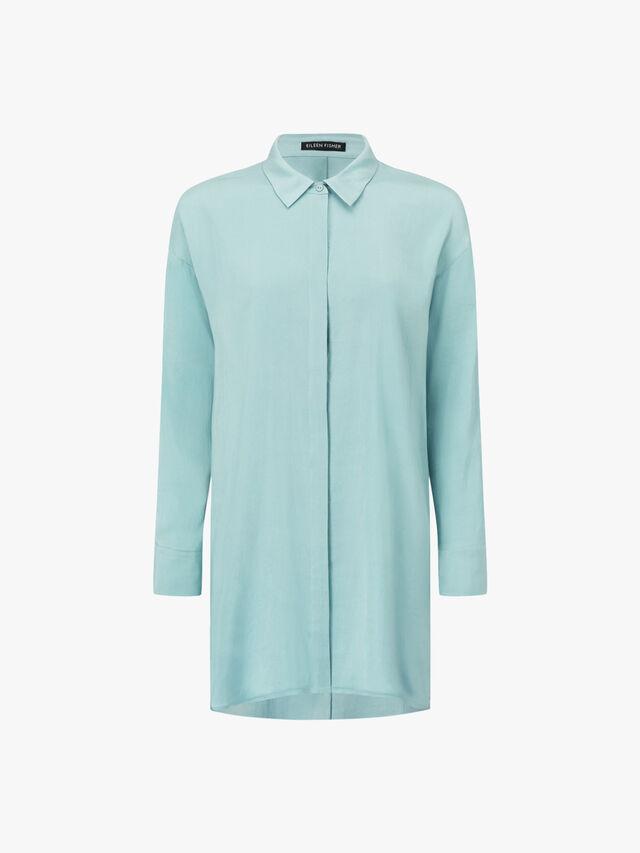 Classic Collar Long Silk Shirt
