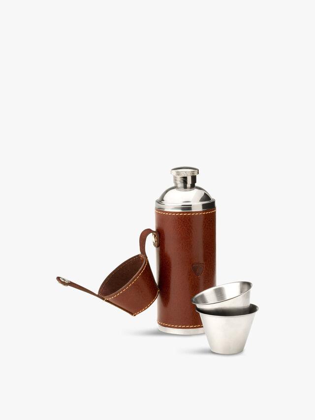 6oz Hunter Leather Flask Set