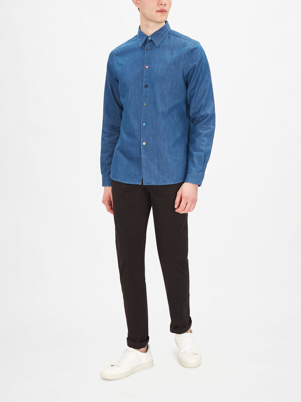 Tailored-Fit Indigo Denim Shirt