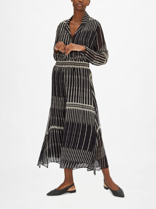 Stripe Print Woven Wide Leg Culotte