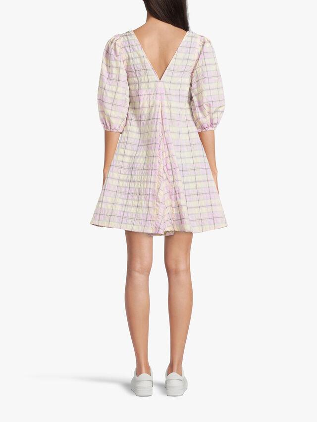 Seersucker V-neck Short Dress