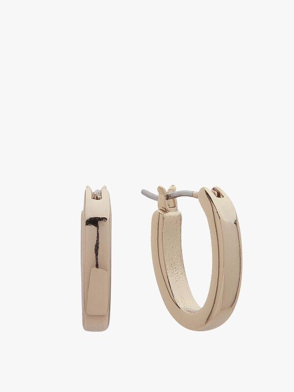 Small Gold Tone Oval Hoop Earrings