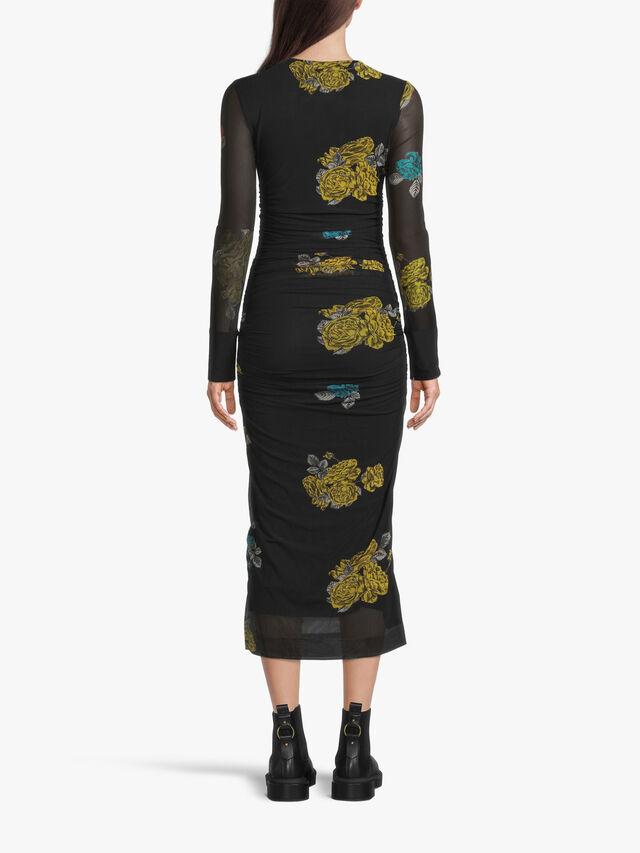 Printed Flower Mesh Bodycon Dress