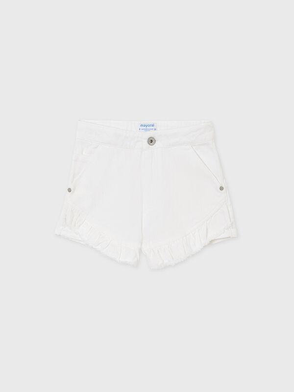 Ruffle Trim Denim Shorts