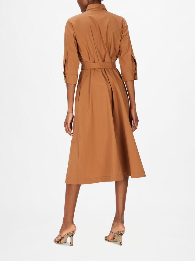 Crop Sleeve A Line Cotton Shirt Dress