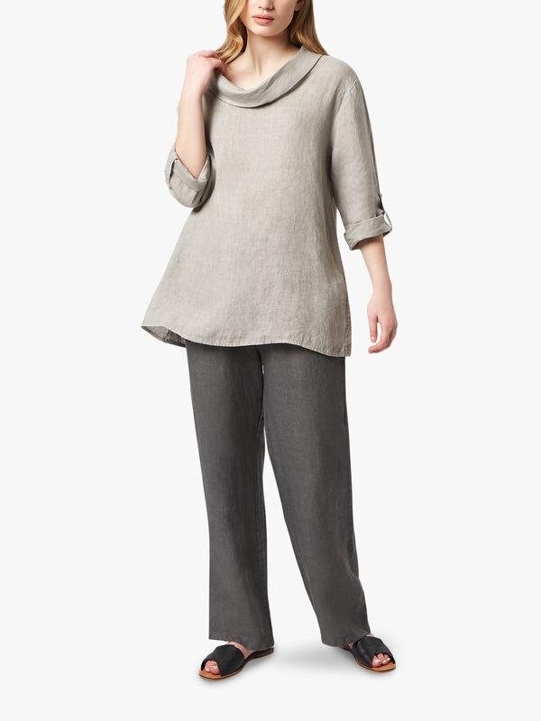 Cowl Neck Linen Blouse