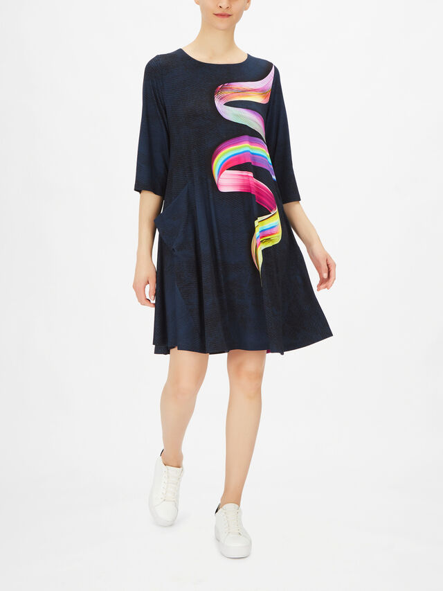 Stara Long Sleeve A Line Ribbon Print Dress