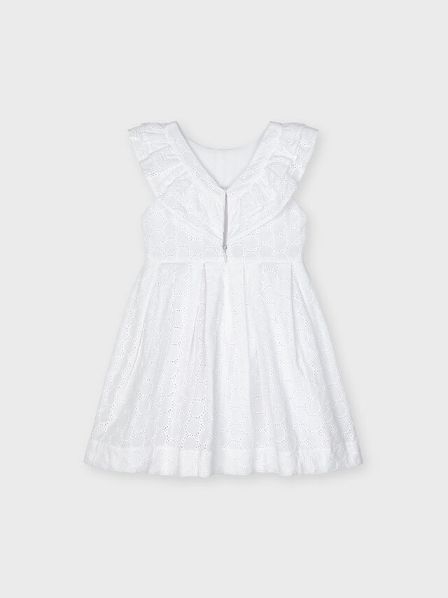 Embroidery Anglais Ruffle Bib Dress