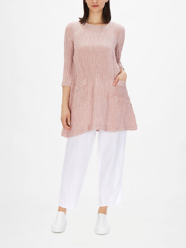 Linen Tunic with Welt Side Pockets