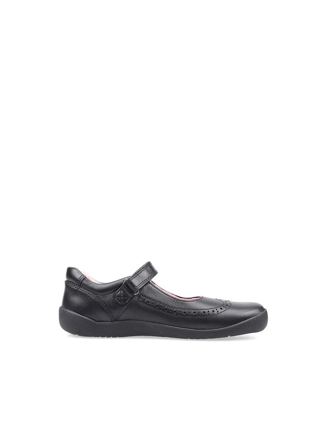 Spirit Black Leather School Shoes