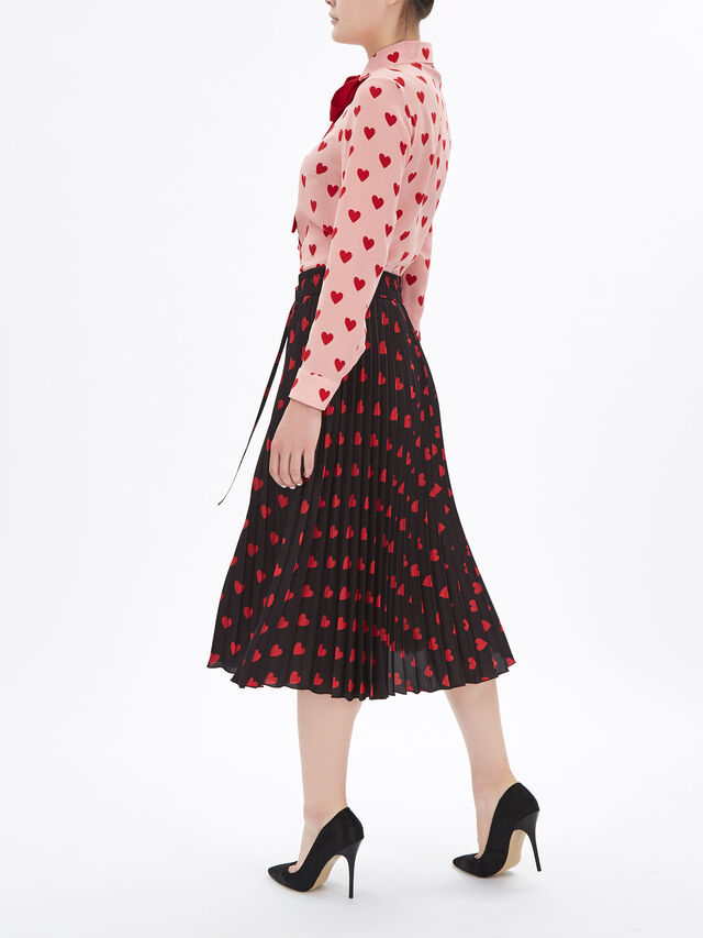 Heart Print Pleated Skirt