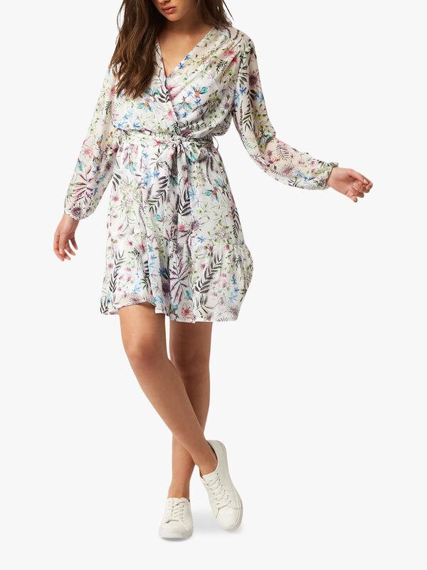 V Neck Floral Tiered Mini Dress