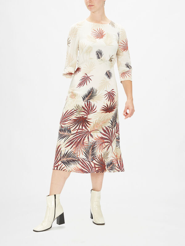 3/4 Sleeves Silky Maxi Dress