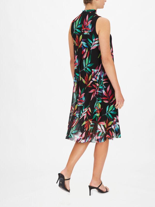 Sleeveless High Neck Leaf Print A Line Dress