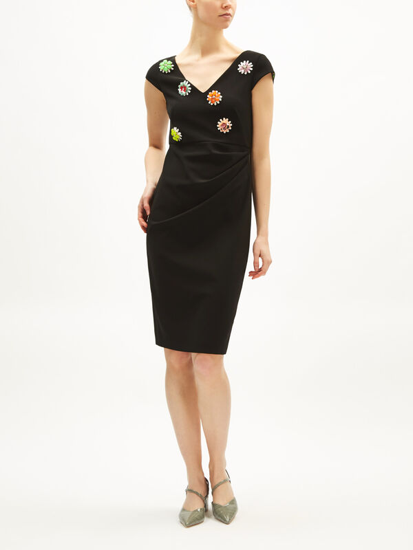 Cap Sleeve Midi Dress with Flower Applique