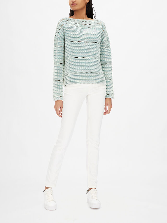 Lose Weave Wide Neck Text Knit