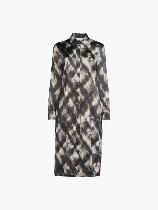 Stretch Satin Printed Shirt Dress