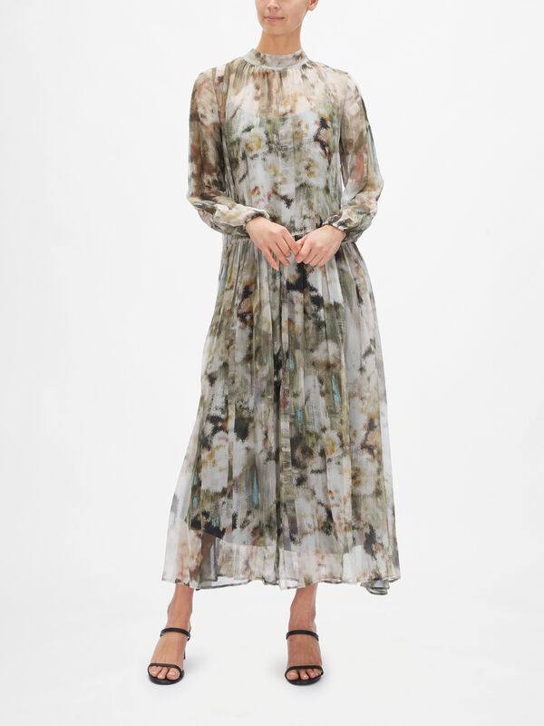 High Neck Puff Sleeves Maxi Dress