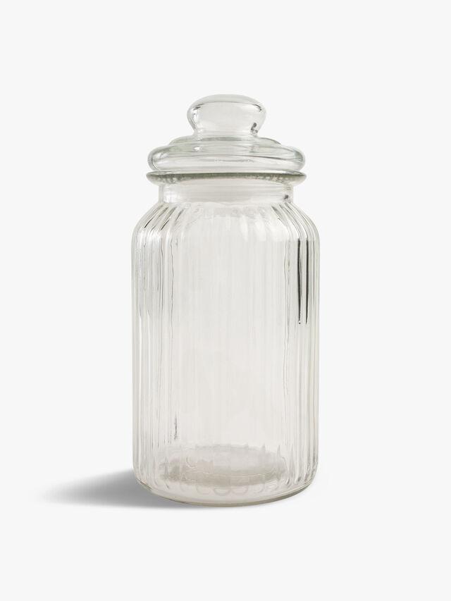 Large Ribbed Glass Jar