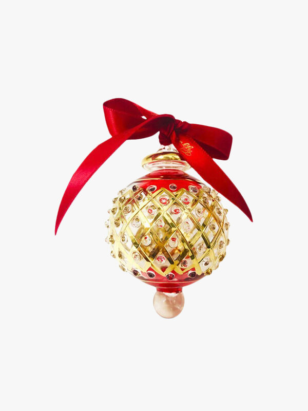 Wide Lattice Dot Red Bauble
