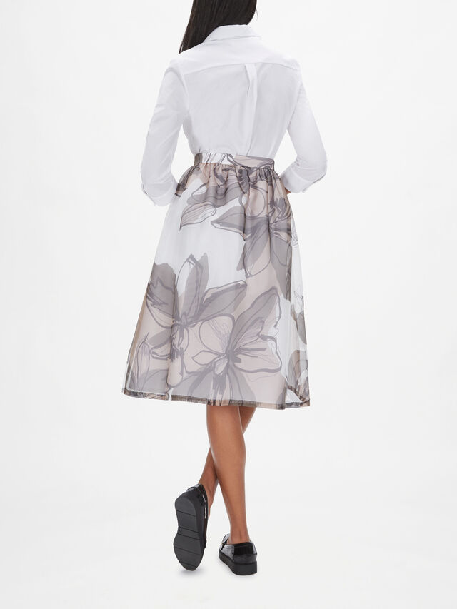 Organza Floral Print Full Skirt