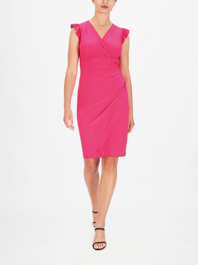 Ruffle Cap Sleeve Fitted Dress with Wrap Skirt