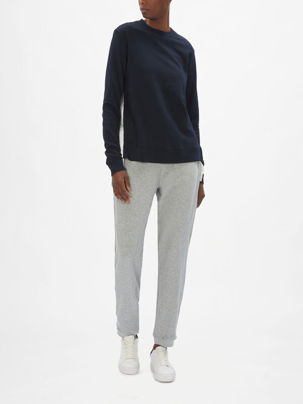 Mix Media Pullover with Asymmetric Panels