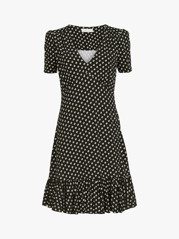 Dot Ruffle V-Neck Dress