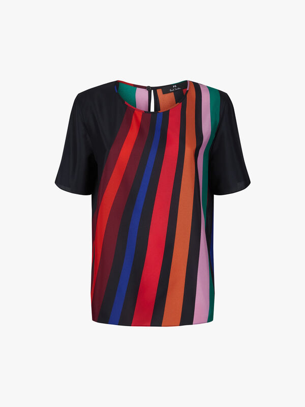 Rainbow Stripe Short Sleeve Top