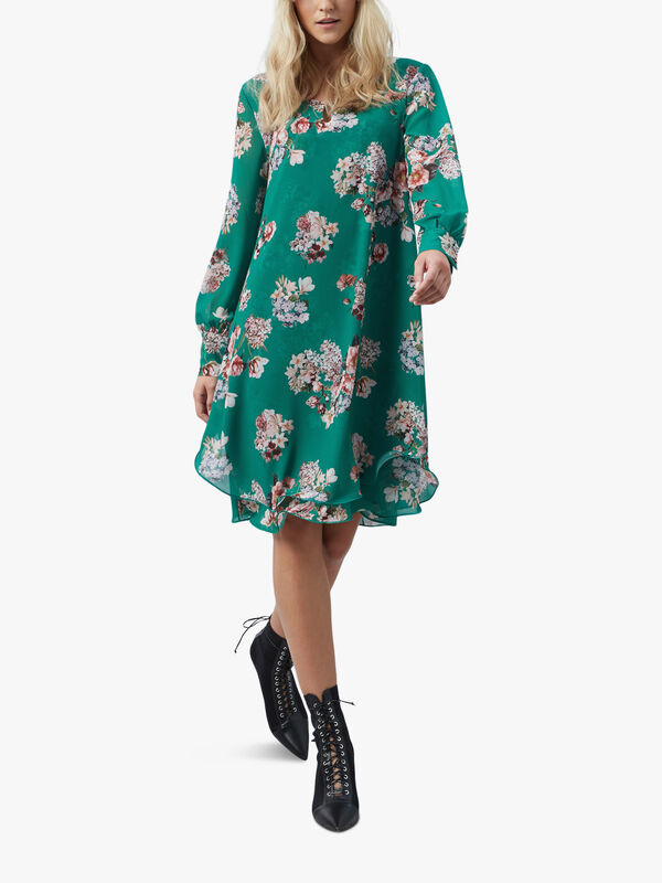 Long Sleeve Print Wave Hem Dress
