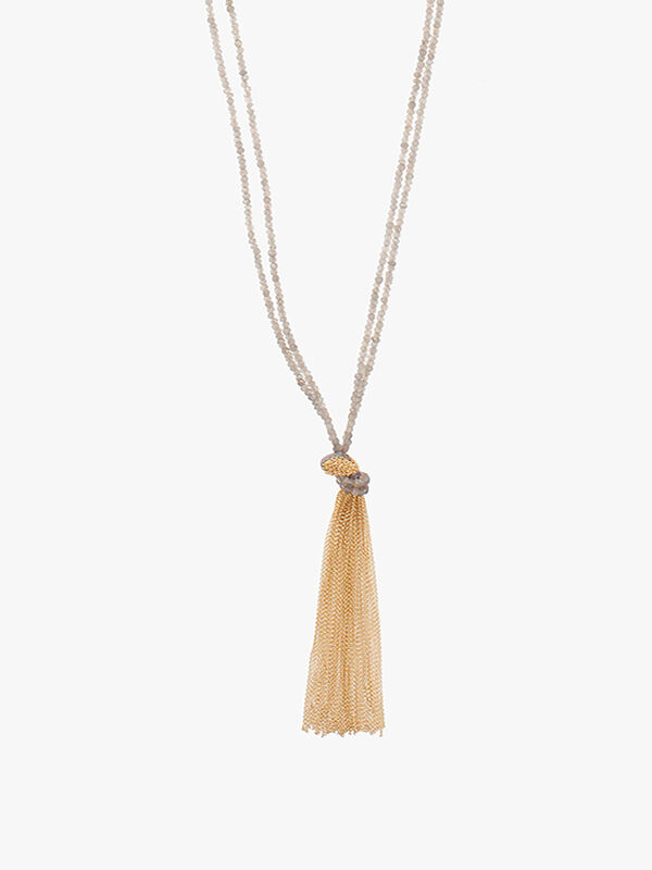 Long Labradorite Chain Tassel Necklace