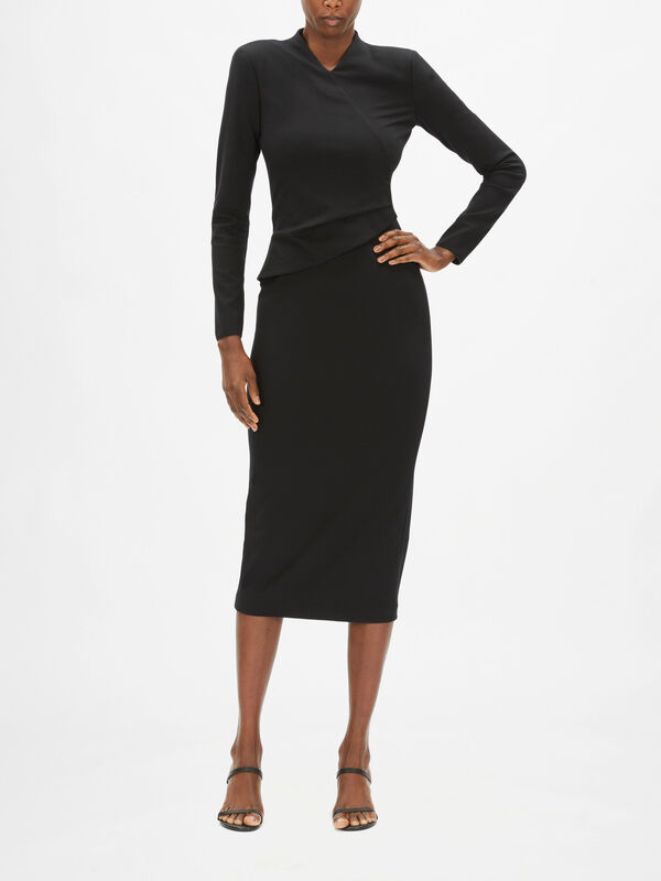 Long Sleeve Pencil Midi Dress With Wrap Over Detail Top