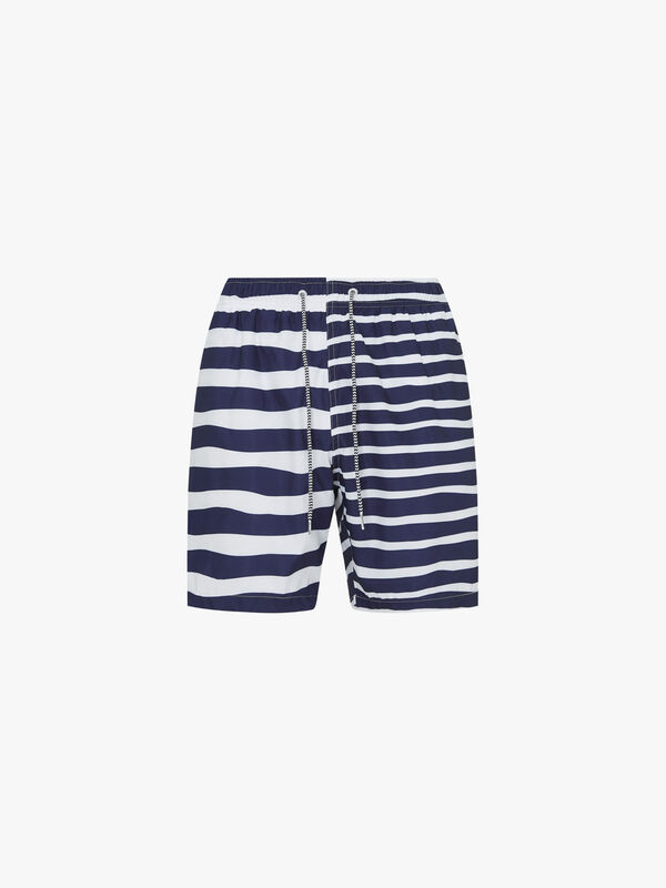 Double Stripe Mid Length Swim Shorts