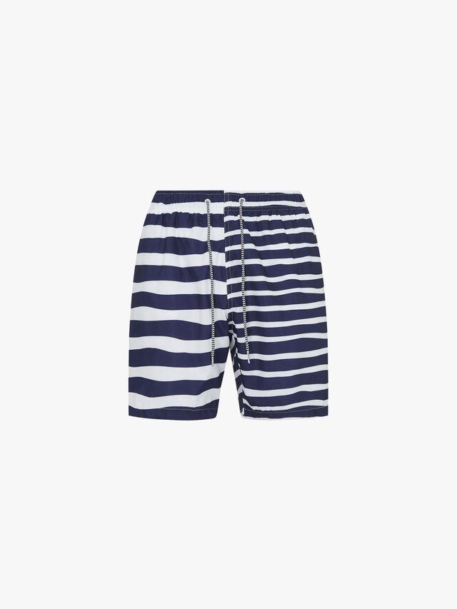 Double Stripe Mid Length Swim Shorts