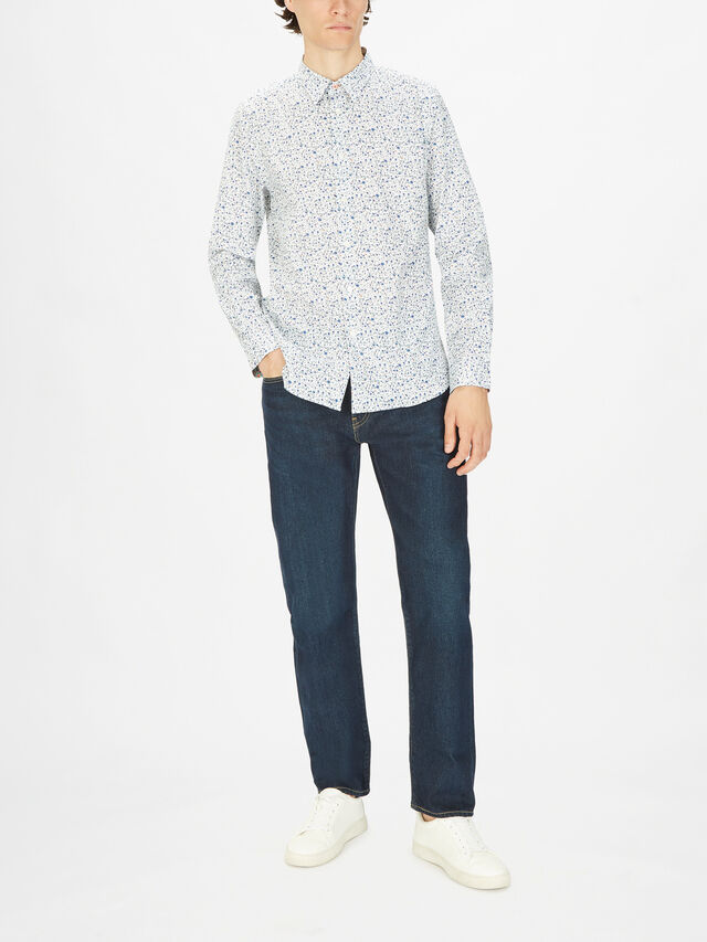 Tailored Fit Printed Cotton Stretch Shirt