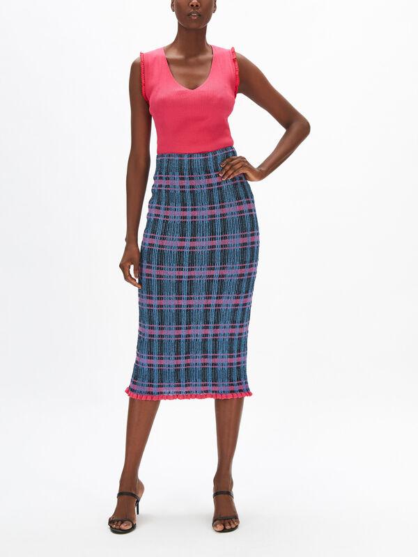 Lurex Check Knit Pencil Skirt