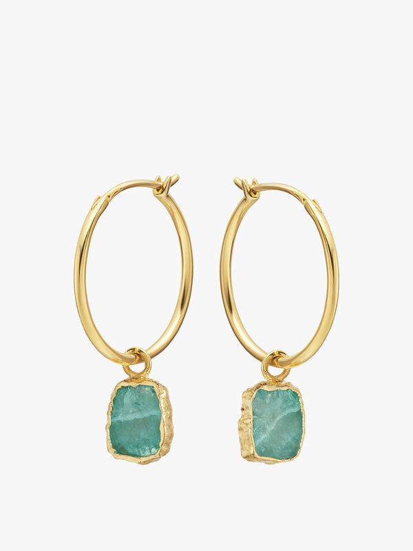 Amazonite Medium Charm Hoops