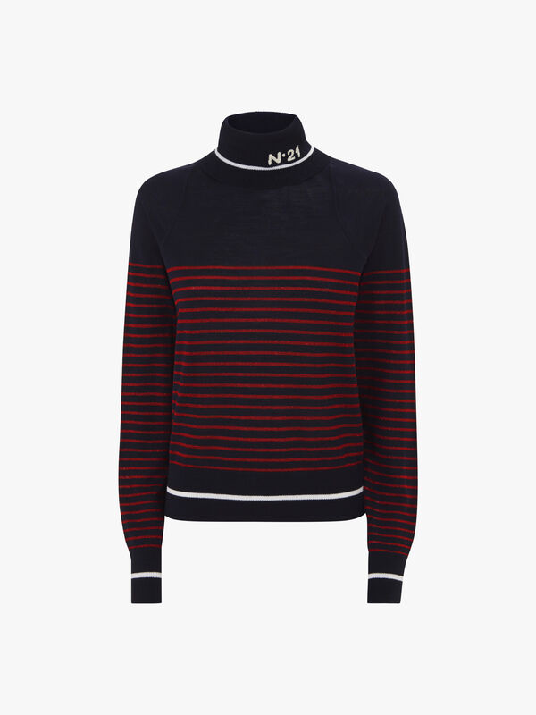 Stripe Roll Neck Knit